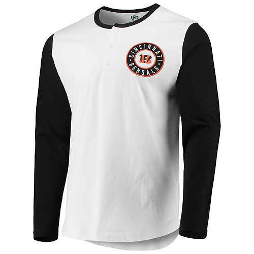 Men's G-III Sports by Carl Banks White/Black Cincinnati Bengals Tradition Henley Long Sleeve T-Shirt