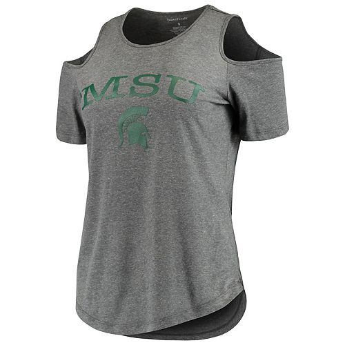 Women's Charcoal Michigan State Spartans Sueded Jersey Cold Shoulder T-Shirt