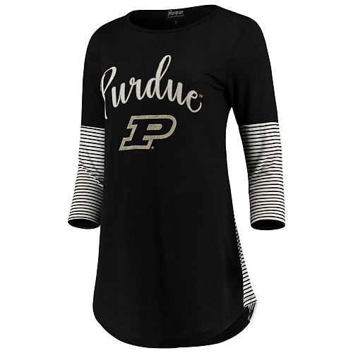 Women's Black Purdue Boilermakers Striking in Stripes Tunic Tri-Blend Shirt