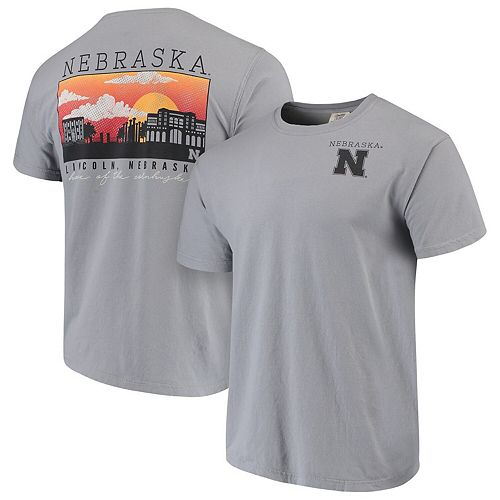 Men's Gray Nebraska Cornhuskers Comfort Colors Campus Scenery T-Shirt