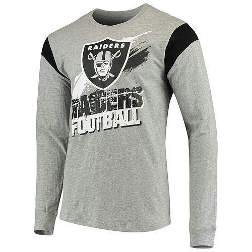 Men's G-III Sports by Carl Banks Heathered Gray/Black Oakland Raiders Wide Receiver Long Sleeve T-Shirt