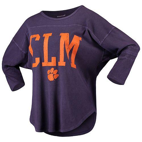 Women's Purple Clemson Tigers Codes Vintage 3/4-Sleeve Striped Jersey T-Shirt
