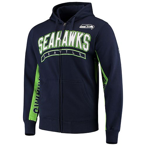 save off 9afbf f802e Men's Hands High College Navy/Neon Green Seattle Seahawks Blowout Full-Zip  Hoodie