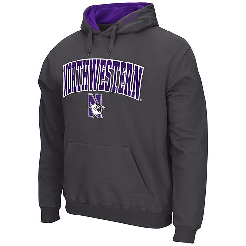 Men's Colosseum Charcoal Northwestern Wildcats Arch & Logo Tackle Twill Pullover Hoodie