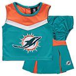 Girls Toddler Aqua/Orange Miami Dolphins Two-Piece Spirit Cheerleader Set with Bloomers