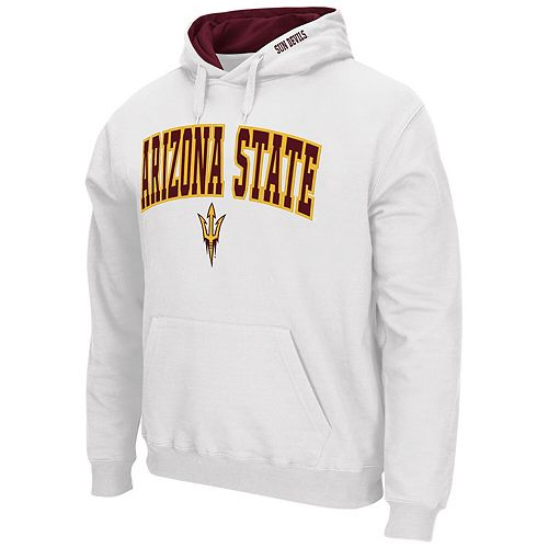 Men's Colosseum White Arizona State Sun Devils Arch & Logo Tackle Twill Pullover Hoodie