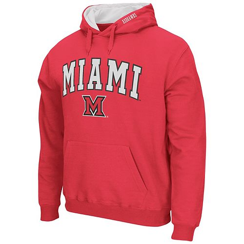 Men's Colosseum Red Miami University RedHawks Arch & Logo Pullover Hoodie