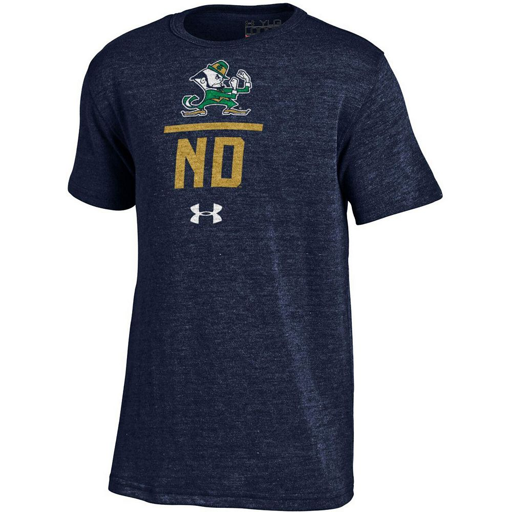 Youth Under Armour Navy Notre Dame Fighting Irish Tri-Blend T-Shirt