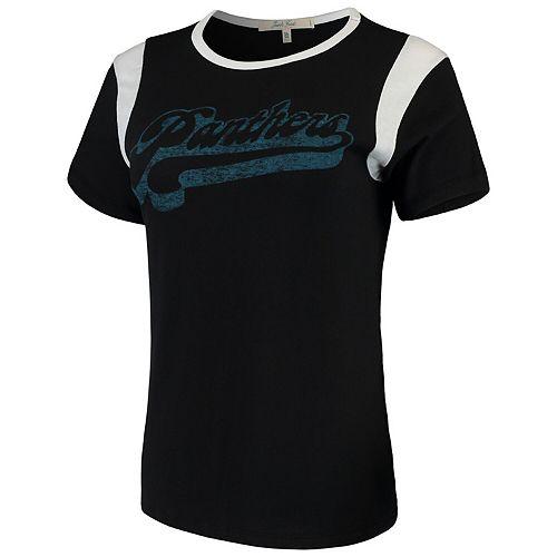 Women's Junk Food Black/White Carolina Panthers Retro Sport T-Shirt
