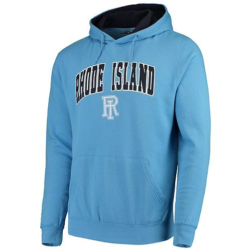 Men's Colosseum Light Blue Rhode Island Rams Arch & Logo Tackle Twill Pullover Hoodie