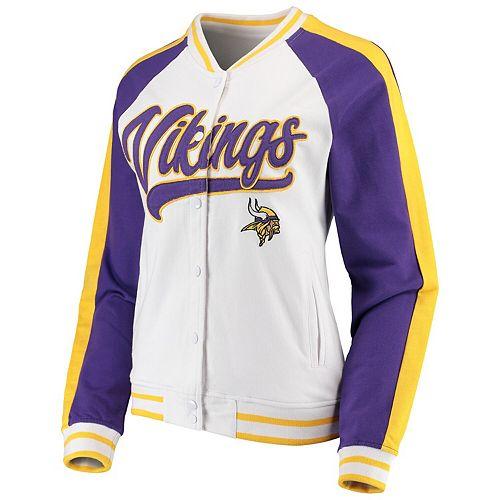 Women's New Era White/Purple Minnesota Vikings Varsity Full Snap Jacket
