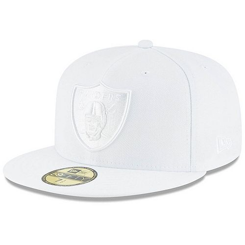 Men's New Era Oakland Raiders White on White 59FIFTY Fitted Hat