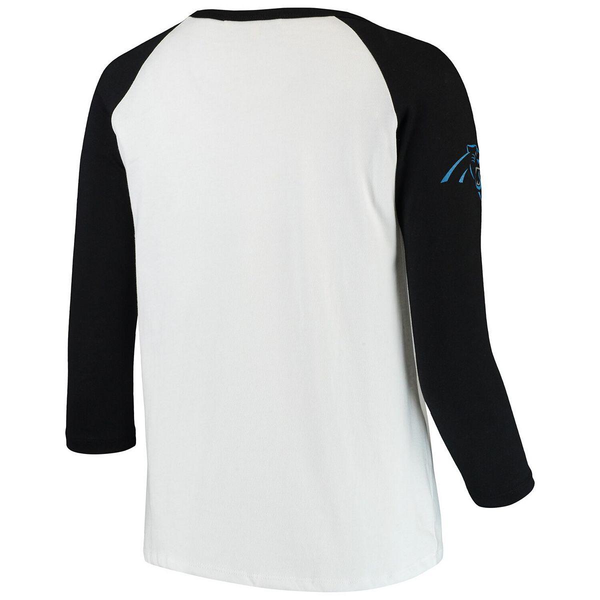 Women's Junk Food White/Black Carolina Panthers Retro Script Raglan 3/4-Sleeve T-Shirt A8hgw