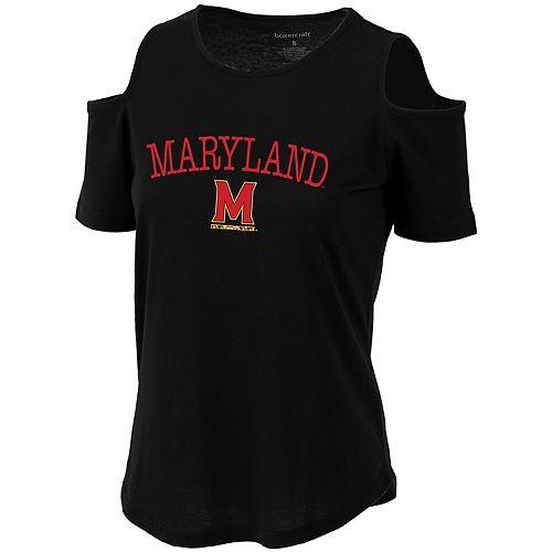 Women's Black Maryland Terrapins Sueded Jersey Cold Shoulder T-Shirt