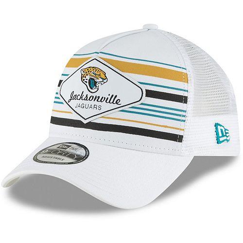 Men's New Era White Jacksonville Jaguars Indo A-Frame 9FORTY Adjustable Trucker Hat