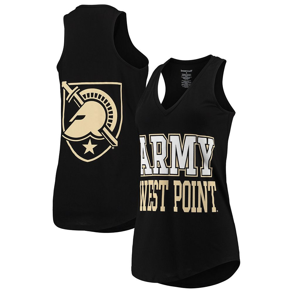 Women's Black Army Black Knights Two-Hit At Ease V-Neck Tank Top