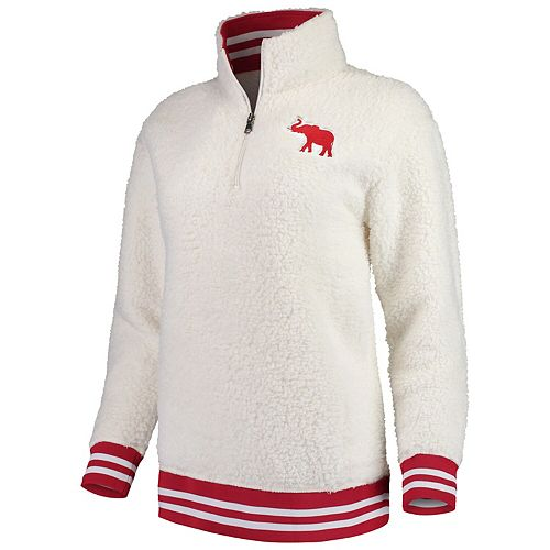Women's Cream Alabama Crimson Tide Varsity Banded Sherpa Quarter-Zip Pullover Jacket
