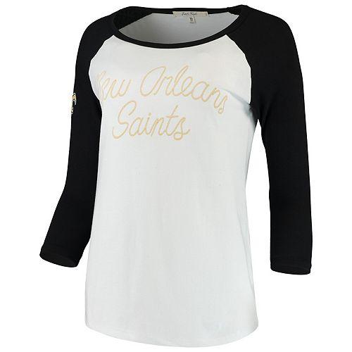 Women's Junk Food White/Black New Orleans Saints Retro Script Raglan 3/4-Sleeve T-Shirt