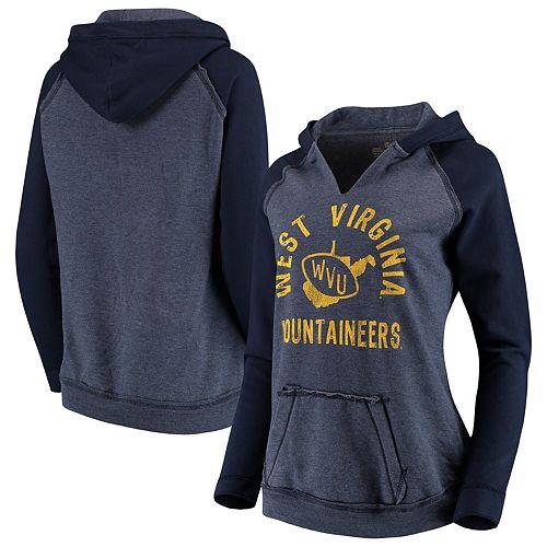 Women's Original Retro Brand Navy West Virginia Mountaineers Two-Toned 2.0 Raglan Pullover Hoodie