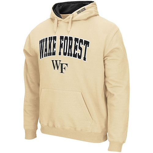Men's Colosseum Vegas Gold Wake Forest Demon Deacons Arch & Logo Tackle Twill Pullover Hoodie
