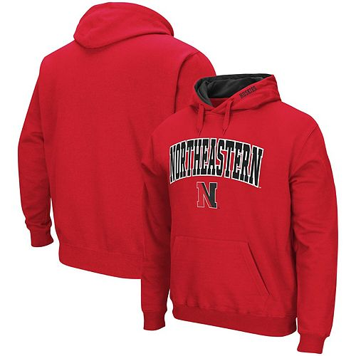 Men's Colosseum Red Northeastern Huskies Arch & Logo Tackle Twill Pullover Hoodie