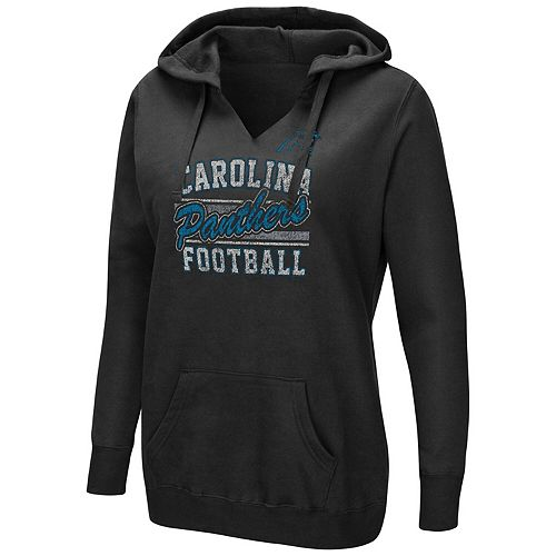 Women's Majestic Black Carolina Panthers Quick Out Plus Size Pullover V-Neck Hoodie