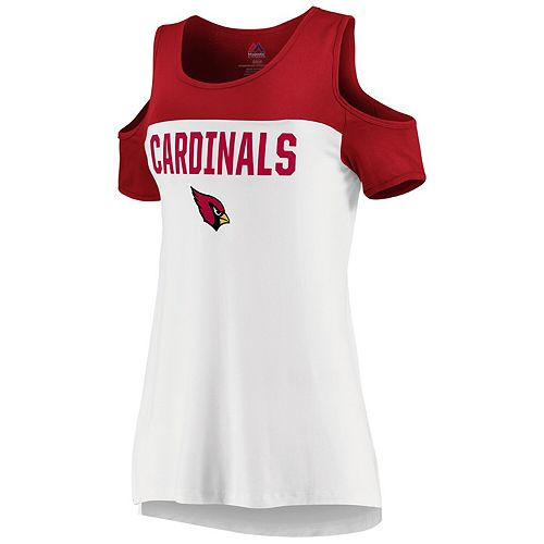 quality design 638f4 de945 Women's Majestic White/Cardinal Arizona Cardinals Pure Dedication Open  Shoulder T-Shirt