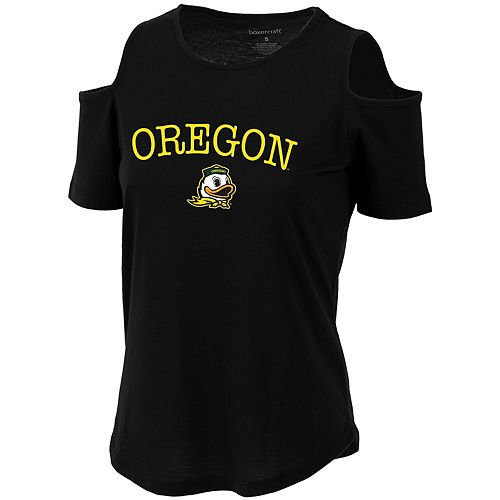 Women's Black Oregon Ducks Sueded Jersey Cold Shoulder T-Shirt