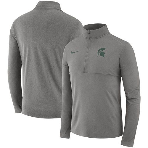 Men's Nike Heathered Gray Michigan State Spartans Core Half-Zip Pullover Jacket