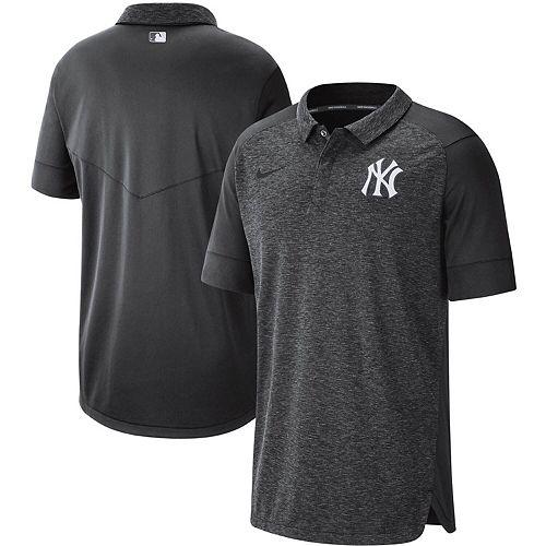 Men's Nike Anthracite New York Yankees Authentic Collection Team Logo Elite Polo