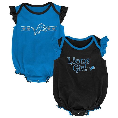Girls Newborn Blue/Black Detroit Lions Homecoming Two-Pack Bodysuit