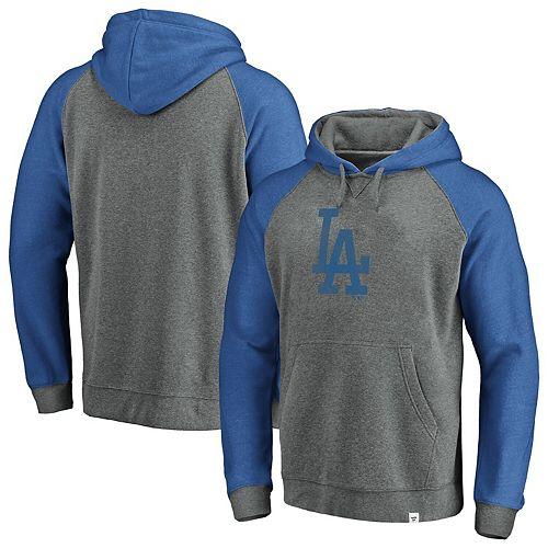 Men's Fanatics Branded Gray/Royal Los Angeles Dodgers Team Logo Tri-Blend Pullover Hoodie