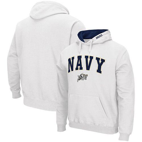 Men's Colosseum White Navy Midshipmen Arch & Logo Pullover Hoodie