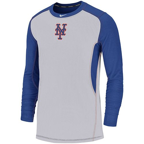 Men's Nike Gray/Royal New York Mets Authentic Collection Game Long Sleeve T-Shirt