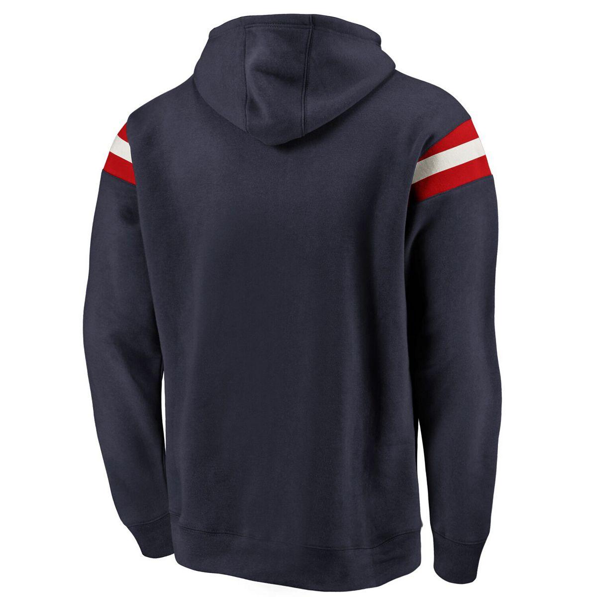 Men's Fanatics Branded Navy Cleveland Indians Big & Tall True Classics Retro Stripe Pullover Hoodie MmJTs