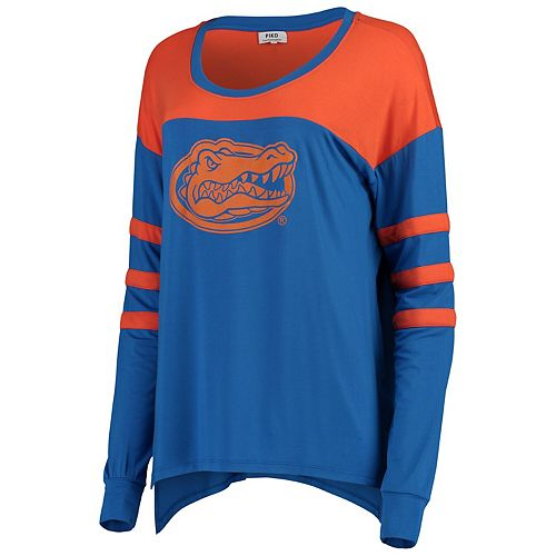 Women's Royal/Orange Florida Gators Piko Kalynn Sleeve Stripe Long Sleeve T-Shirt