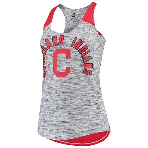 Women's New Era Navy/Red Cleveland Indians Space Dye Racerback Tank Top