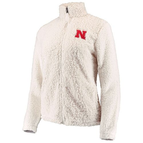 Women's Cream Nebraska Cornhuskers Sherpa Full-Zip Jacket