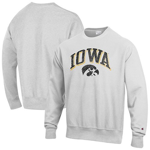 Men's Champion Gray Iowa Hawkeyes Arch Over Logo Reverse Weave Pullover Sweatshirt
