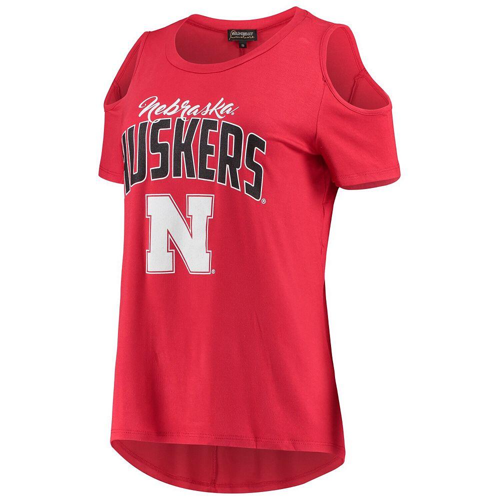 Women's Scarlet Nebraska Cornhuskers Cold Shoulder Flowy Top