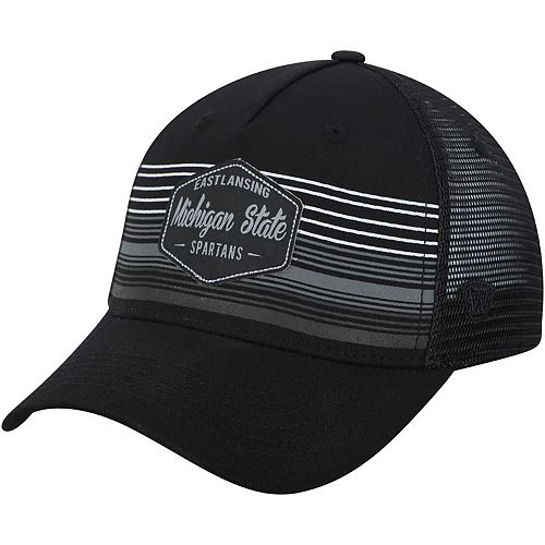 Men's Top of the World Black Michigan State Spartans Frequency Trucker Adjustable Hat