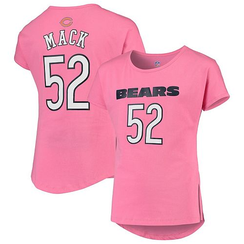 promo code 07867 2b4d7 Girls Youth Khalil Mack Pink Chicago Bears Dolman Mainliner Name & Number  T-Shirt