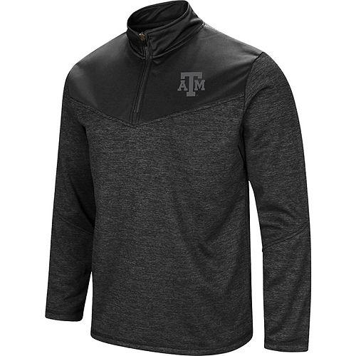 Men's Colosseum Heathered Black Texas A&M Aggies Blackout Quarter-Zip Pullover Jacket