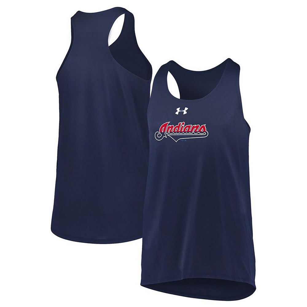 Girls Youth Under Armour Navy Cleveland Indians Big Time Fan Performance Tank Top