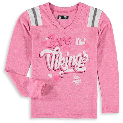 Girls Youth New Era Pink Minnesota Vikings Love for My Team Long Sleeve Tri-Blend V-Neck T-Shirt