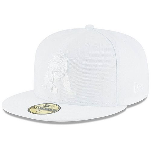 Men's New Era New England Patriots Throwback White on White 59FIFTY Fitted Hat