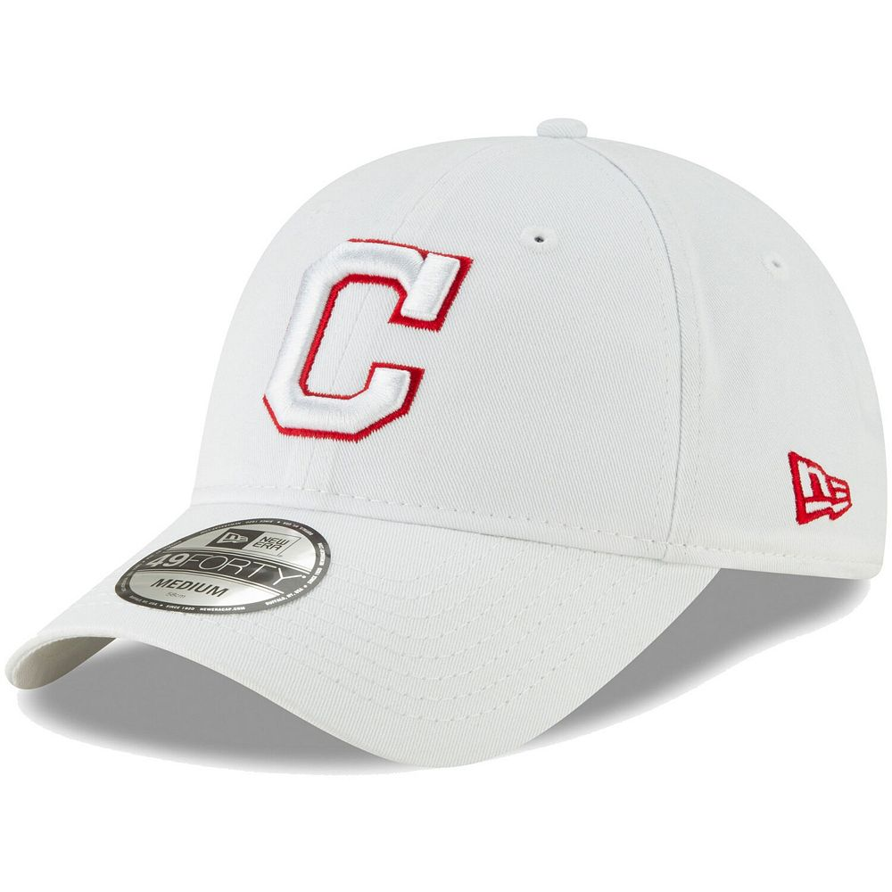 Men's New Era White Cleveland Indians Core Pop 49FORTY Fitted Hat