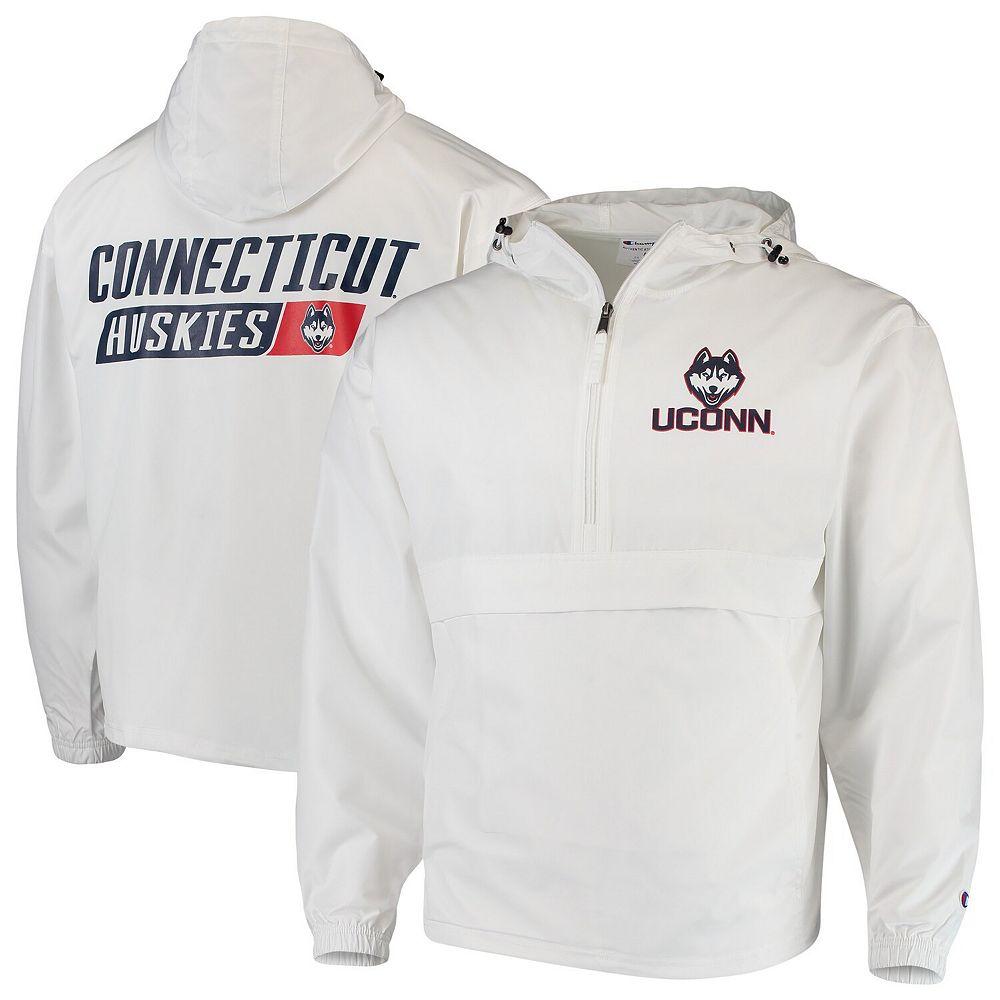Men's Champion White UConn Huskies Tailgate Packable Half-Zip Jacket