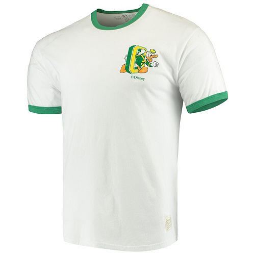 Men's Original Retro Brand White Oregon Ducks School Logo Ringer T-Shirt