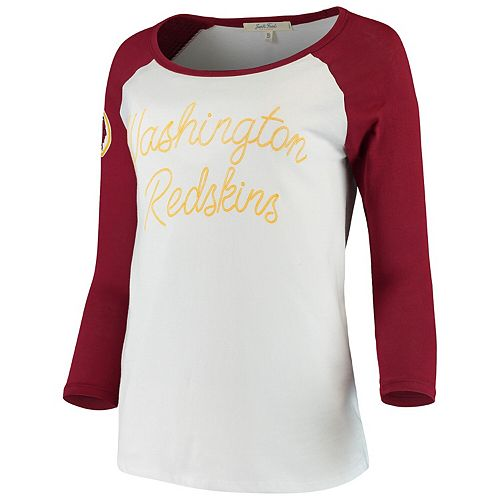 Women's Junk Food White/Burgundy Washington Redskins Retro Script Raglan 3/4-Sleeve T-Shirt